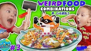 WEIRD FOOD COMBINATIONS! GIANT CEREAL & KERPLUNK GAME + Pop Goes the Weasel Hexbug SHAWN'S CIRCLE #3