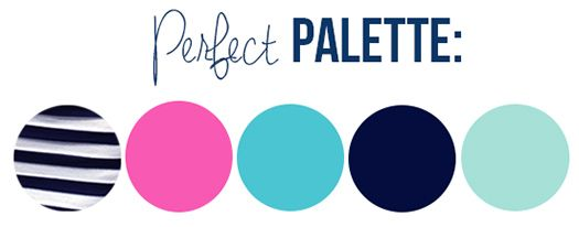 Navy, Pink, Turquoise & Mint: Preppy Color Palette