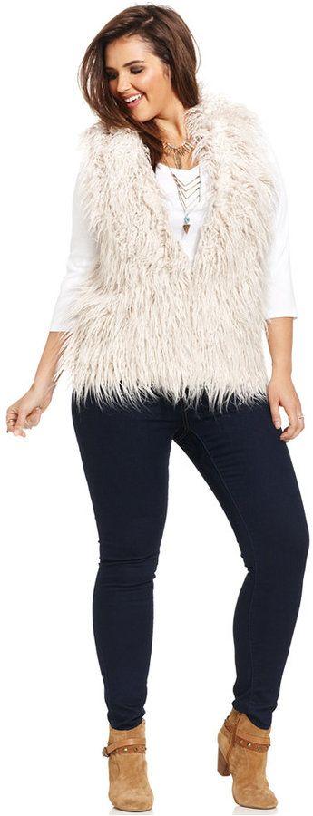 Plus Size Faux Fur Vest #plus #size #fashion