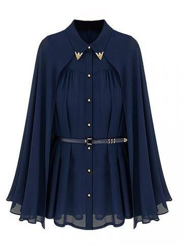 Elegant Women Sun-Proof Belt Lapel Single Breasted Two Way Chiffon Cape Blouse Online - NewChic