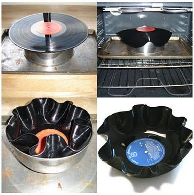 Vinyl Bowls these would be a cool gift for a music lover! (i am thinking step brothers next present)