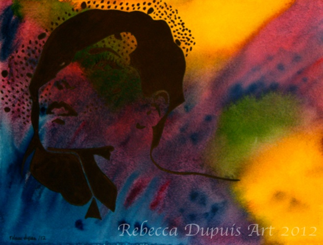 """""""Demure"""" in Watercolor and Ink by Rebecca Dupuis.  Size 11.25""""x 14.5"""" If you would like to purchase artwork, please contact me at Facebook at RebeccaDupuisArt."""