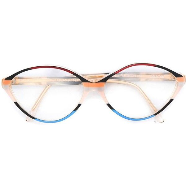 Balenciaga Vintage tricoloured rounded glasses ($255) ❤ liked on Polyvore featuring accessories, eyewear, eyeglasses, multicolour, rounded glasses, colorful eyeglasses, vintage round glasses, round eyewear and round eyeglasses