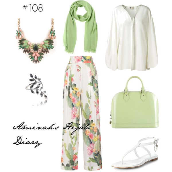 http://aminahshijabdiary.wordpress.com/ #hijab #fashion #style #look #ootd #summer #flower #palazzo #green #outfit