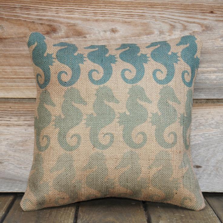 Coastal Beach Throw Pillows : Seahorse Nautical Pillow Cover, Coastal Throw Pillow, Beach Cottage, Teal, Burlap Pillow, Feed ...