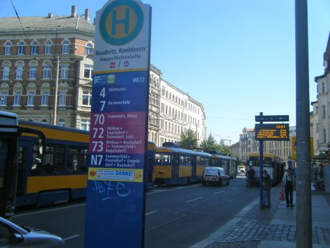 Tram stop on Dresdner Straße in Reudnitz