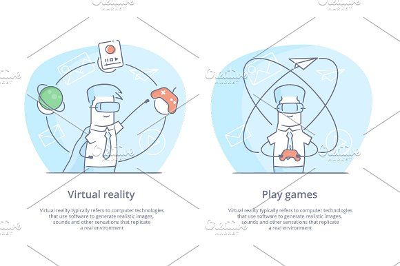 Young man wearing virtual reality by Artur Stotch on @creativemarket
