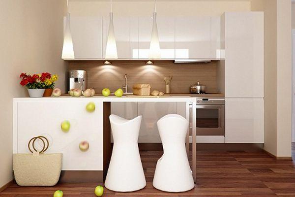 wallpaper untuk dapur juga bisa membuat dapur Anda menjadi lebih fresh dan segar. Dalam desain kali ini, perpaduan wallpaper kotak dengan furnitur warna kalem menjadikan dapur ini semakin terlihat modern dan nyaman. Selain itu, pemilihan lantai wood juga menjadikan dapur ini kental dengan unsur alam yang indah.