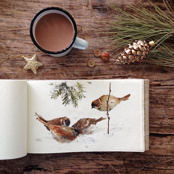 Aquarela de pássaros no sketchbook.