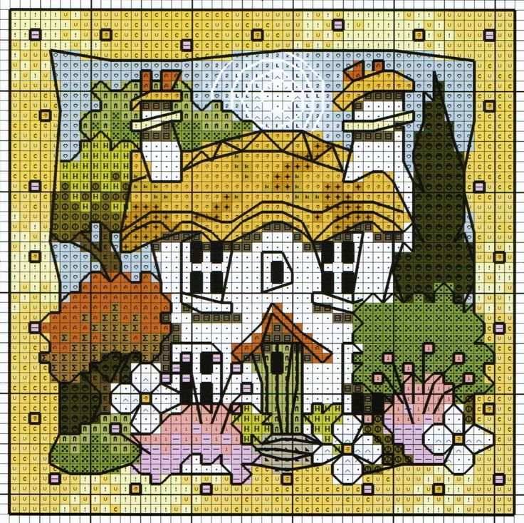 'Country Cottage' from Michael Powell's 'Mini Cross Stitch' book (paperback, pub. Search Press). There are twenty to make and they are all very quirky and appealing. I have made most of the pictures in this book for someone or other and they are a real pleasure to work on.