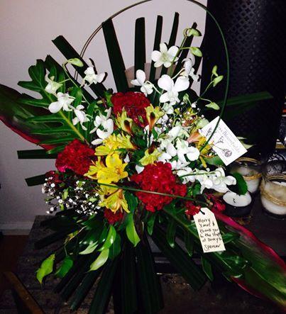 Floral arrangement. Celosia, gerberas, Singapore orchids and alstroemeria. Photos & flowers by Eleena www.missbloomfields.com