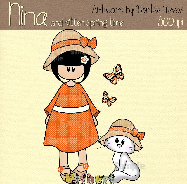 Nina dolls clipart, digital Illustration by Withart for scrapbooking, cardmaking and crafts. Spring, doll, cat, butterfly. www.etsy.com/shop/withart