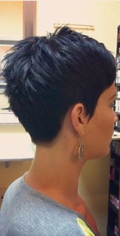Dark Messy Pixie Hairstyle Back View- this is the one! Description from uk.pinterest.com. I searched for this on bing.com/images
