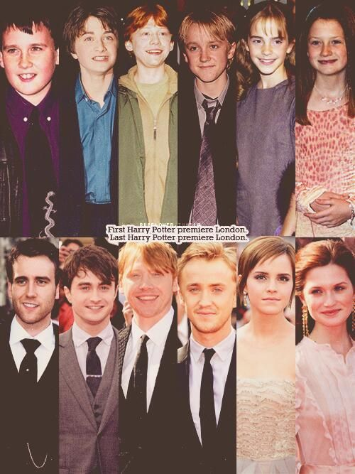 Harry Potter cast from their first until their last premiere