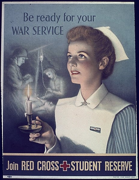 World War II Poster (looks like my old student nurse uniform, heavily starched and we had to put them together and shine our white shoes each night!)