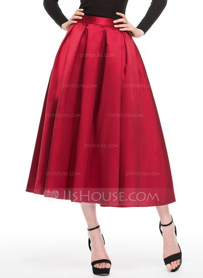 A-Line/Princess Tea-Length Zipper Up at Side No 2016 Burgundy Spring Fall General Plus Satin Cocktail Dress