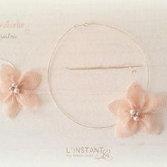 Parure cérémonie argent 925 fleur tissu rose pâle mademoiselle -  l'instant c