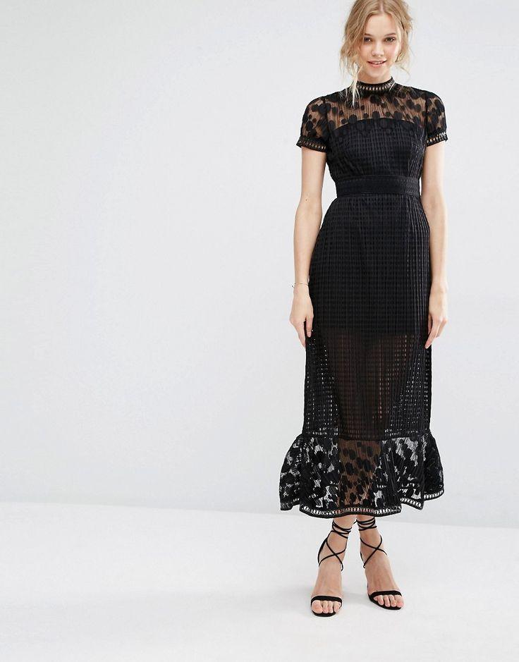 Foxiedox Elodie Pleated Lace Cutwork Midi Dress