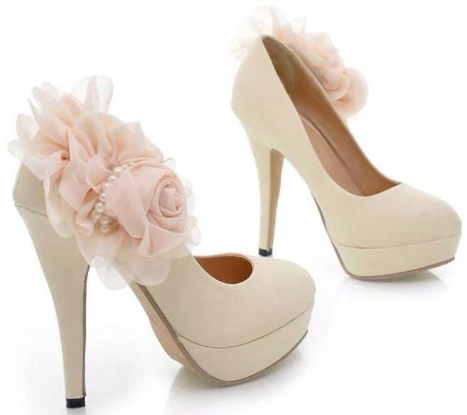 Elegant Stiletto Heels With Lovely Flower Prom Shoes