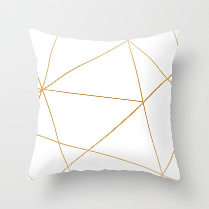 Buy Geometric Gold And White Throw Pillow By Jessicabou Worldwide Shipping Available At Society6 Com Jus In 2020 Gold Throw Pillows White Throw Pillows Throw Pillows