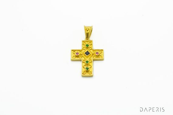 Byzantine Cross Pendant Sapphire Emerald Ruby925 by DAPERIS