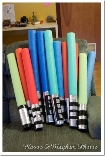 light sabers made from water noodles....heading to the dollar store!!