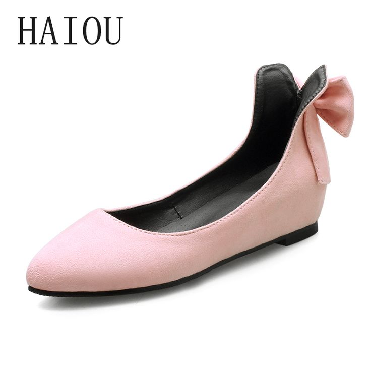 HAIOU Brands 2017 Women's Ballerina Flat Moccasins Mouth Shoes Small Yards Women's Single Shoes Bow Tie High Quality Shoe Black