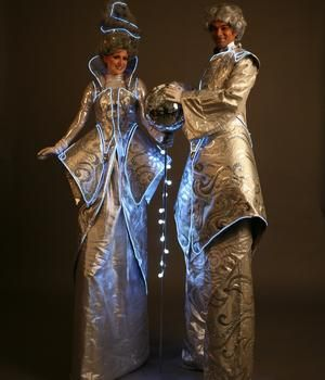 Book The Noble Silvers. Our Christmas stilt walkers are available to hire for Winter Wonderland events, Christmas-themed events or Christmas parades in the UK & London.