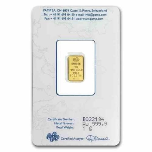 New-1-gram-Gold-Pamp-Suisse-Fortuna-Ingot-Bar-with-integrated-Assay-Certificate