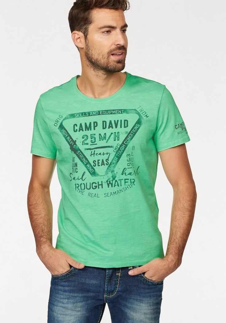 CAMP DAVID T-Shirt ab 15,99€. Mit großem Frontprint, Angenehme Qualität dank reiner Baumwolle, Regular Fit bei OTTO