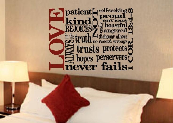 scripture wall vinyl bible verse 1 corinthians 13 4 8. Black Bedroom Furniture Sets. Home Design Ideas
