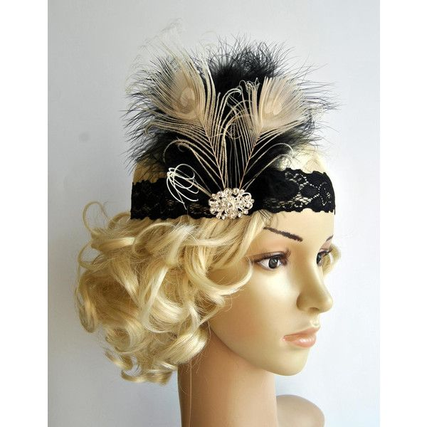 Flapper Lace Rhinestone Feather Headband the Great Gatsby Headband... ($30) ❤ liked on Polyvore featuring accessories, hair accessories, grey, headbands & turbans, peacock headband, feather hair accessories, 1920s hair accessories, headband hair accessories and stretch headbands