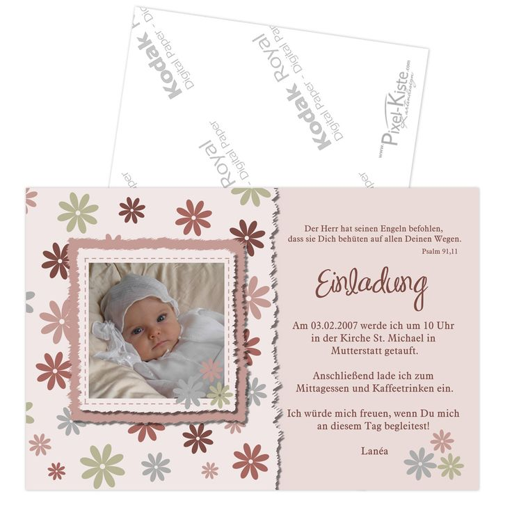 quadratische einladungskarten zur taufe oder namensweihe   oder, Einladung