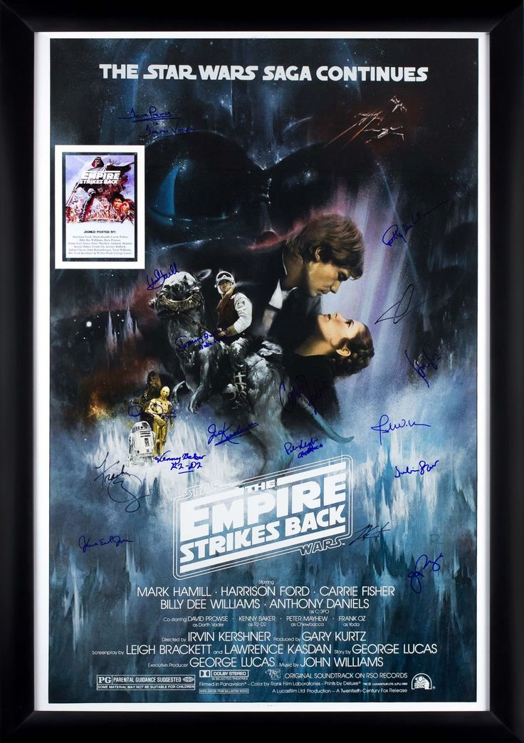 Star Wars - The Empire Strikes Back Cast Signed Movie Poster Framed + COA