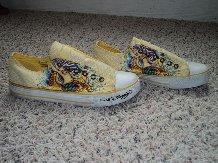 Women 39 s ed hardy yellow slip on tennis shoes fish design for Fish tennis shoes