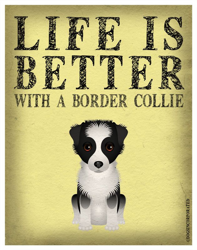 Life is Better with a Border Collie Art Print 11x14 - Custom Dog Print. $29.00, via Etsy.