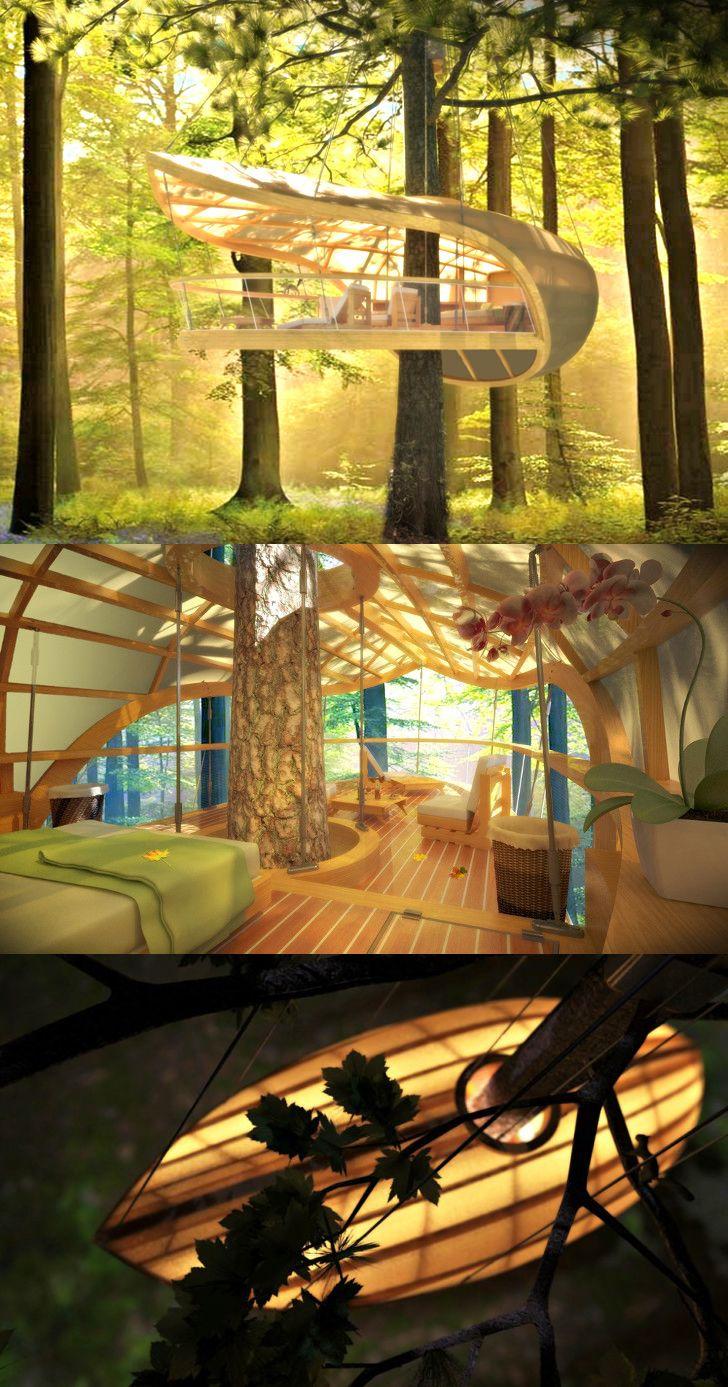 E'terra Samara treehouse retreat designed for Canadian forests, lovely!  Charmante retraite E'Terra Samara est une cabanne conçu pour les forêts canadiennes ! /  http://arcreactions.com/gkg/