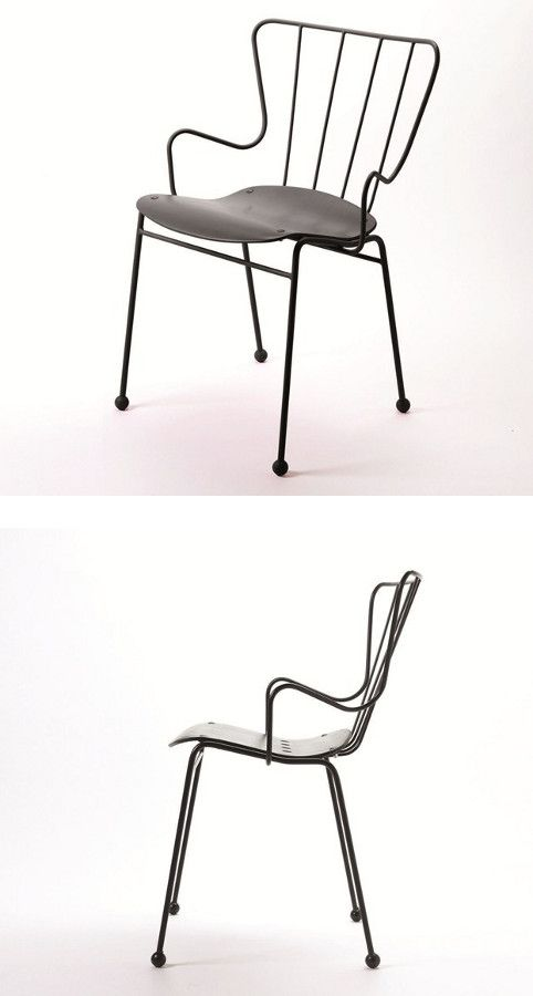 Powder coated steel chair with armrests ANTELOPE by Buzzispace | #design Ernest Race @buzzispace