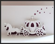 Walt Disney Cinderella Carriage Pop-Up Card Free Paper Craft Template Download http://www.scribd.com/doc/245939440/Cinderella-Carriage-Origamic-Architecture