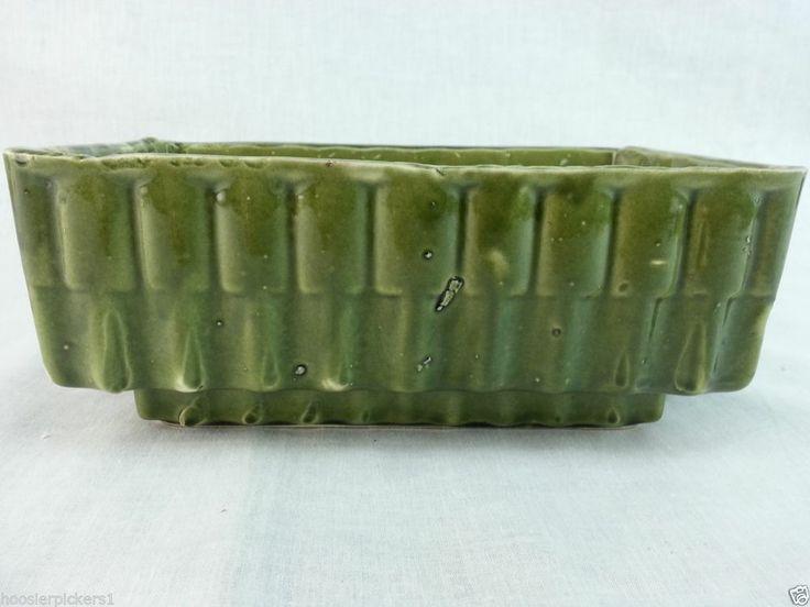 "California pottery green ceramic planter window box 3 1/2"" t 5 1/2"" x 8 3/4"""