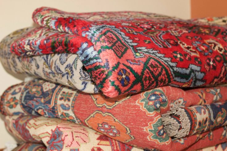 Rugs, rugs, everywhere! Piles of Persian rugs, waiting to find their new home in our Tintswalo Atlantic suites!