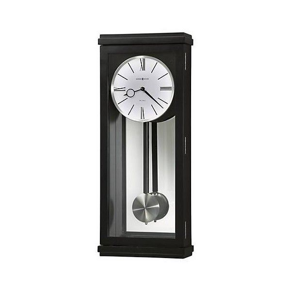 "Howard Miller Alvarez 23 1/4"" High Wall Clock (540 BAM) ❤ liked on Polyvore featuring home, home decor, clocks, black clock, black wall clock, howard miller clocks, howard miller and howard miller wall clock"