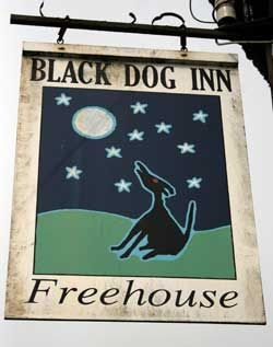 Pub sign from the Black Dog Inn