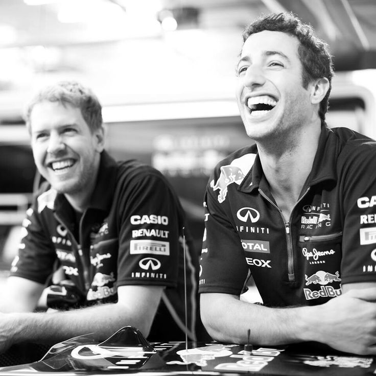 I love this. Sebastian Vettel and Daniel Riccairdo reppin' RBR