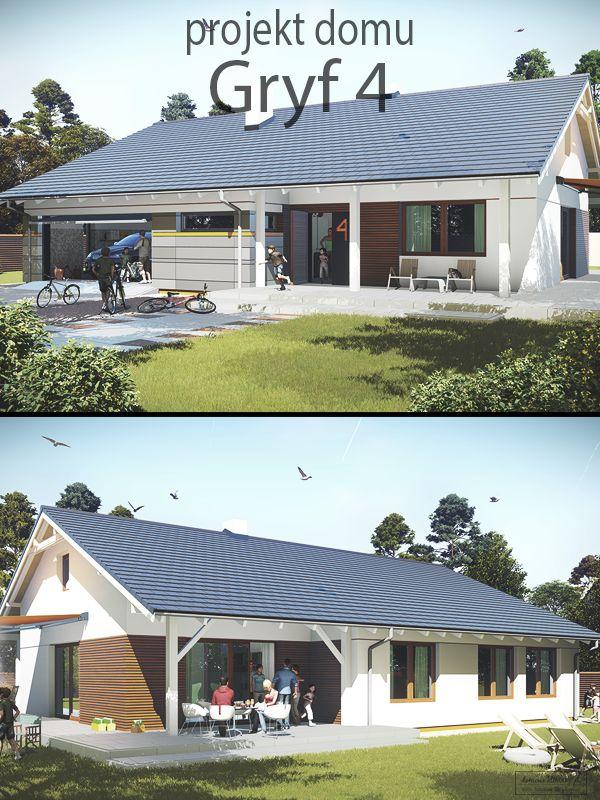 """Projekt domu parterowego z dwustanowiskowym garażem i dużym strychem, możliwym do adaptacji. """"Gryf 4"""" jest powiększoną wersją projektu """"Gryf 3"""". Dom posiada 4 usytuowane od strony ogrodu sypialnie, garderobę oraz 2 łazienki. Kuchnia, tworząca spójną przestrzeń z salonem i jadalnią, została funkcjonalnie zaaranżowana i posiada obszerną spiżarnię."""