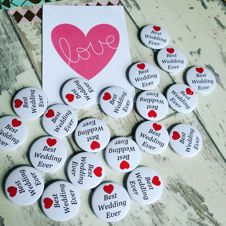 Best wedding ever badges heading out. Our first wedding badges of 2018 and it's only the 2nd day. So exciting!
