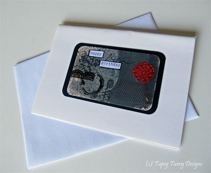 Grey and red mixed media unique blank greeting card - Happy Birthday