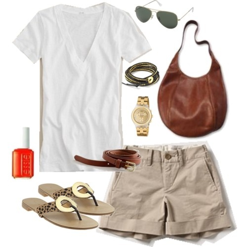 : Classic Summer, Summer Staples, Crisp White Shirt, Casual Summer, Spring Khakis Outfits, Summer Style, Khaki Shorts, Summer Outfits, Khakis Shorts