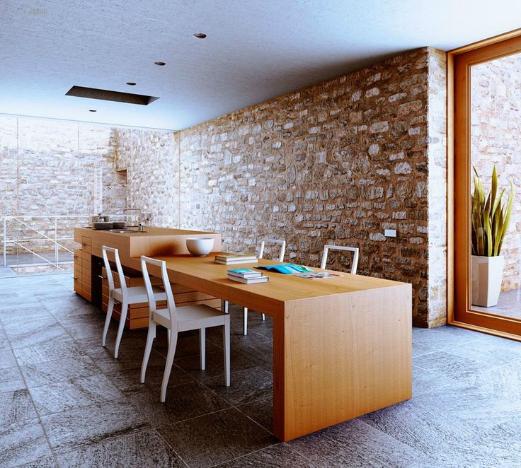bathroom-agreeable-plywood-rustic-kitchen-dining-table-with-alluring-white-minimalist-side-chairs-and-snazzy-stone-nature-wall-and-concrete-floor-charming-wooden-interior-design-ideas-design-wall-wo.jpg 844×760 pixels