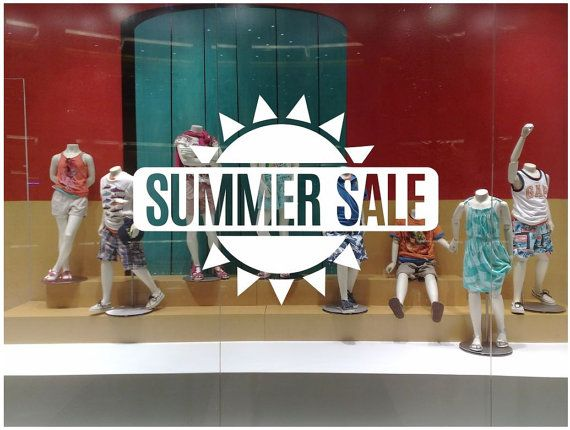 Summer Sale Sun Shop Window decal easy to paste or remove - shop window display - ask us for custom decals by cutnpasteshop